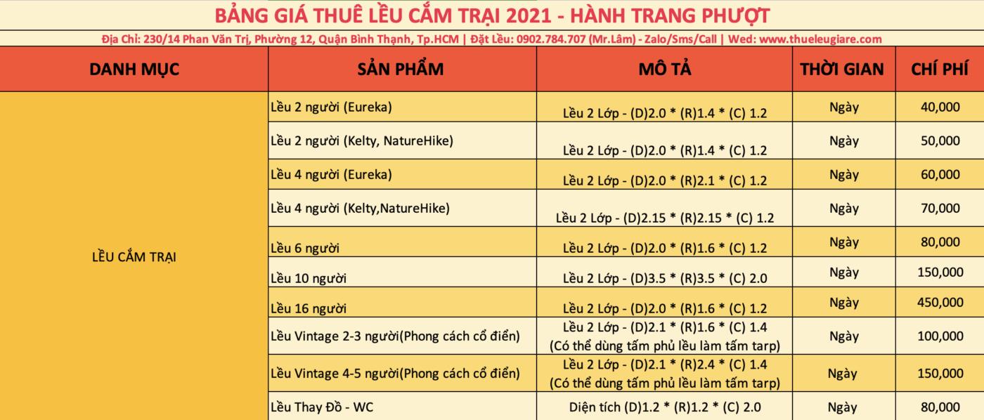 Cập nhật bảng giá thuê lều cắm trại năm 2021 tại Tp. Hồ Chí Minh
