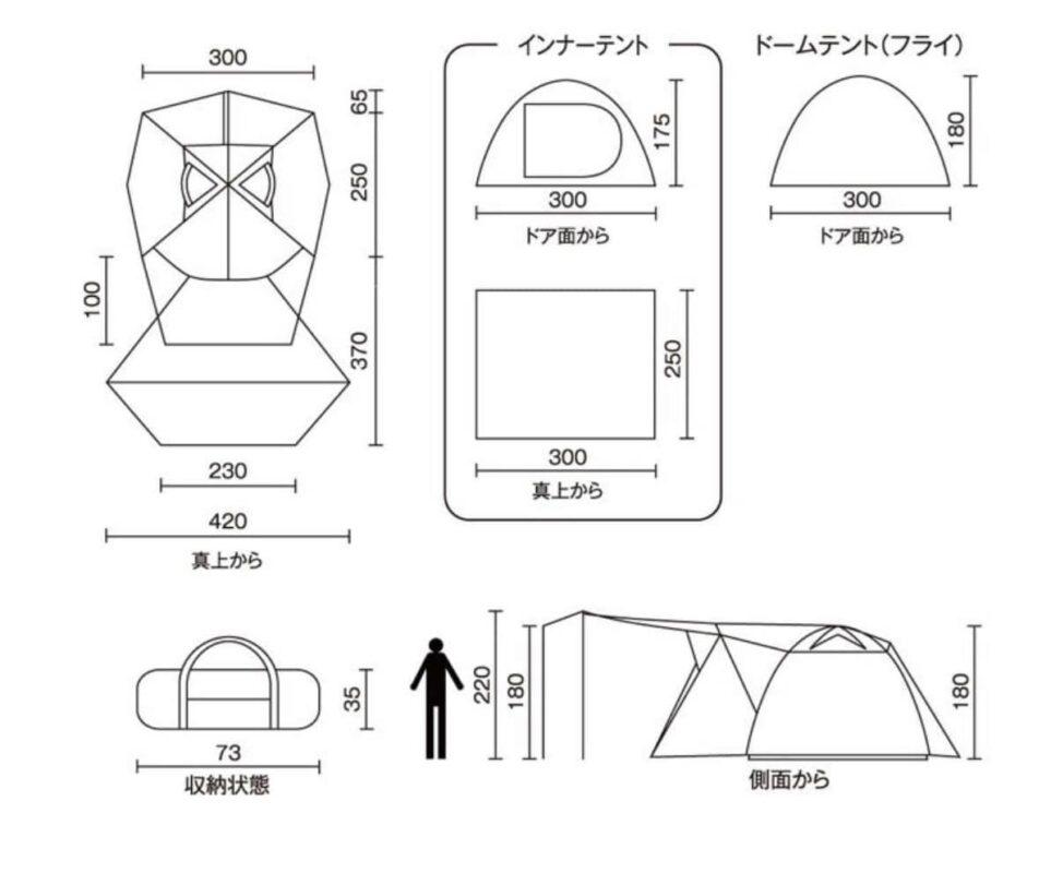 sơ đồ kích thước lều Coleman 2 phòng